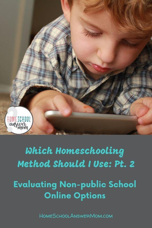 Little boy homeschooling on iphone